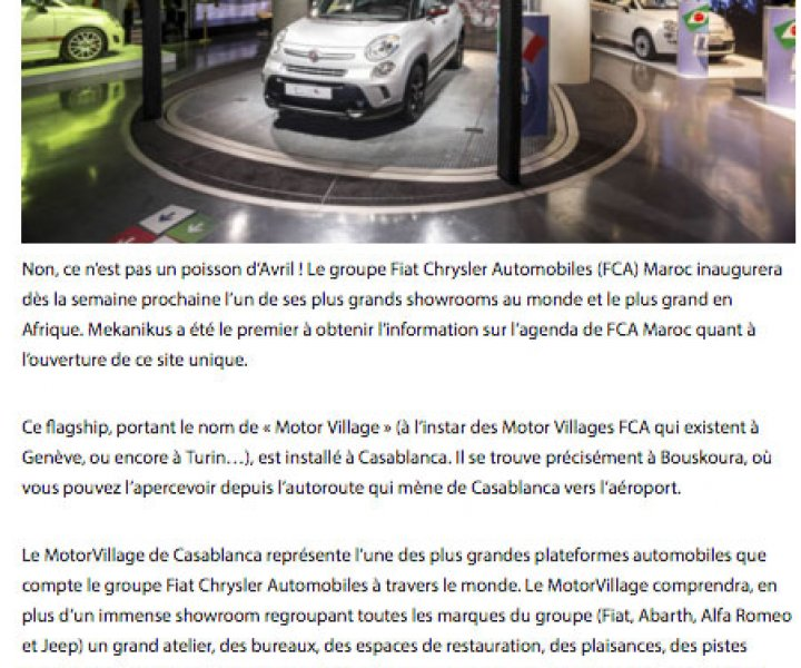 Fiat inaugure à Casablanca son plus grand Showroom en Afrique
